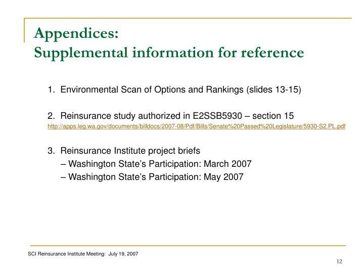 Appendices: