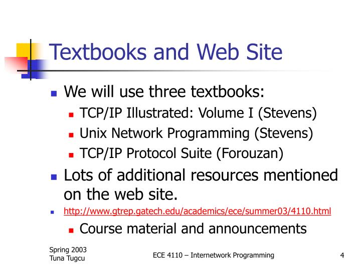 Textbooks and Web Site