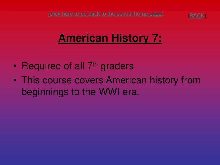 American History 7: