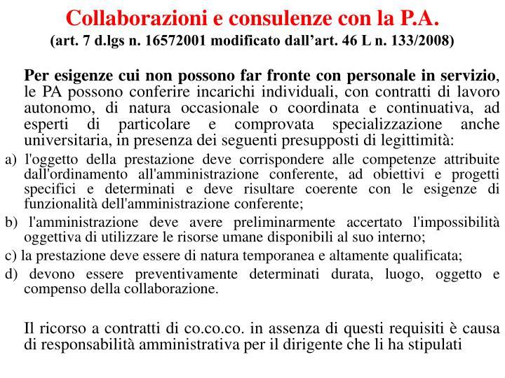 Collaborazioni e consulenze con la P.A.