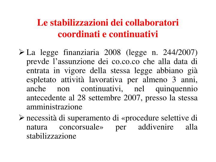 Le stabilizzazioni dei collaboratori coordinati e continuativi