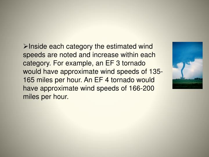 Inside each category the estimated wind speeds are noted and increase within each category. For example, an EF 3 tornado would have approximate wind speeds of 135-165 miles per hour. An EF 4 tornado would have approximate wind speeds of 166-200 miles per hour.