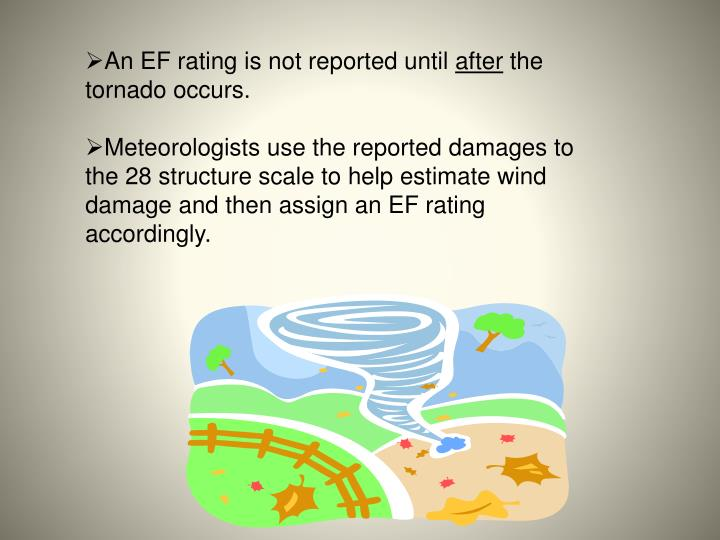 An EF rating is not reported until