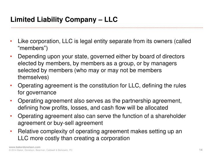 Limited Liability Company – LLC
