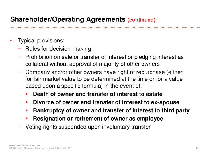 Shareholder/Operating Agreements