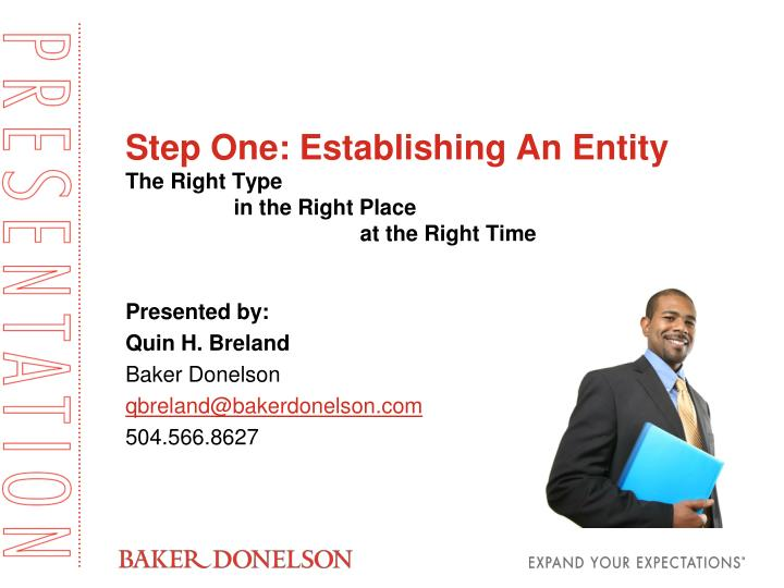 Step one establishing an entity the right type in the right place at the right time