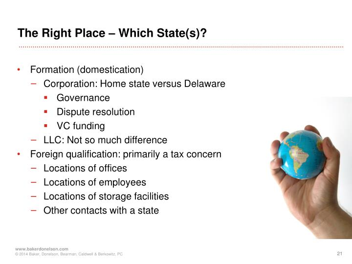 The Right Place – Which State(s)?