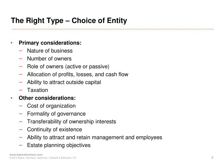 The Right Type – Choice of Entity