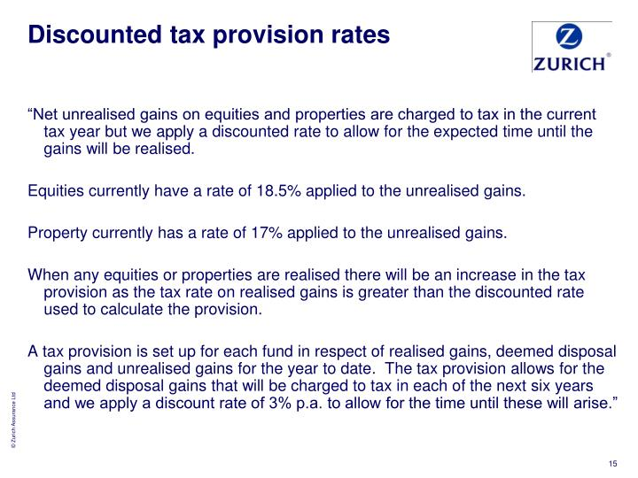 Discounted tax provision rates