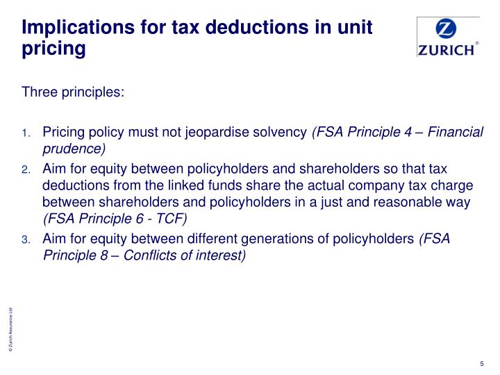 Implications for tax deductions in unit pricing