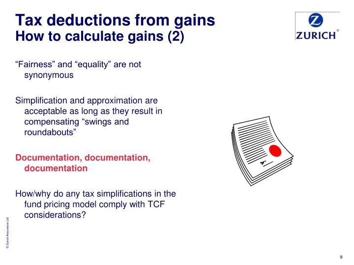 Tax deductions from gains