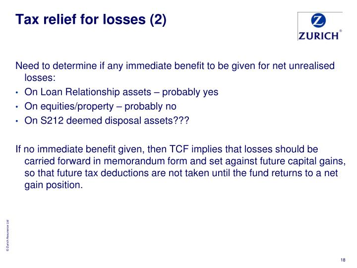 Tax relief for losses (2)