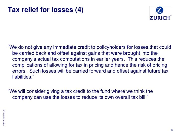 Tax relief for losses (4)