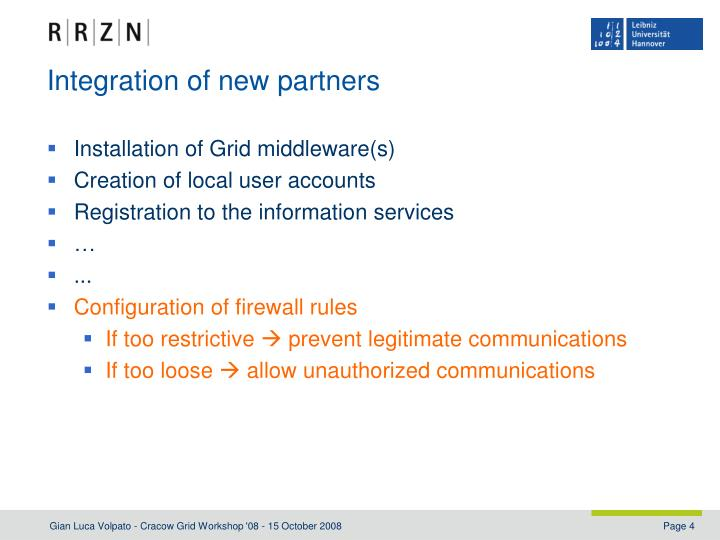 Integration of new partners