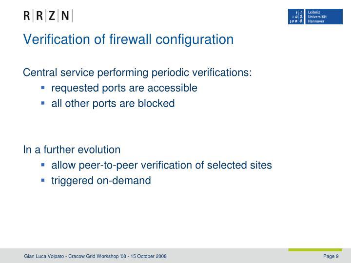 Verification of firewall configuration