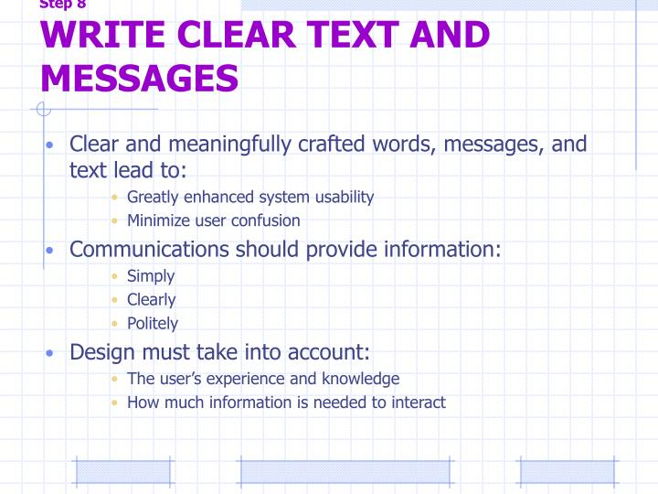 Step 8 write clear text and messages1