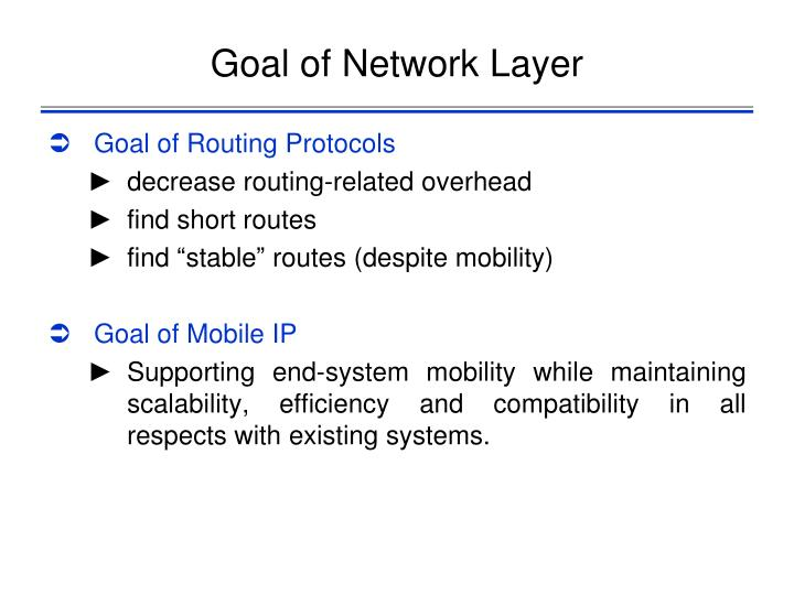 Goal of Network Layer
