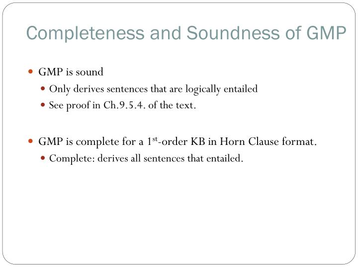 Completeness and Soundness of GMP