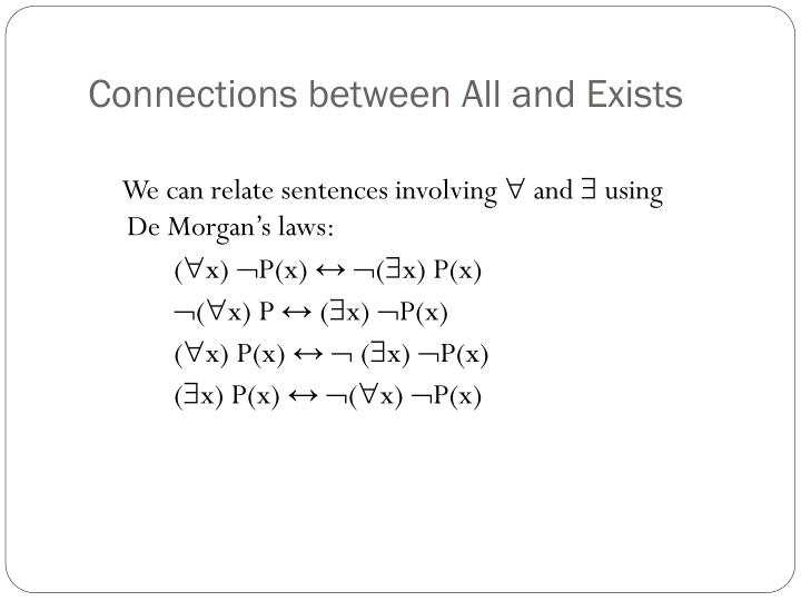 Connections between All and Exists