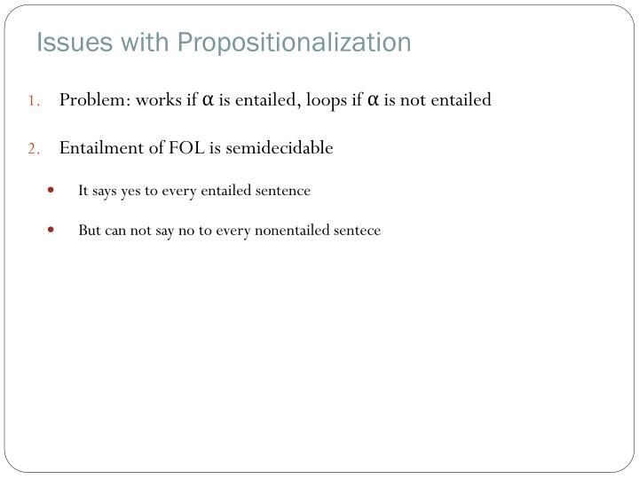 Issues with Propositionalization