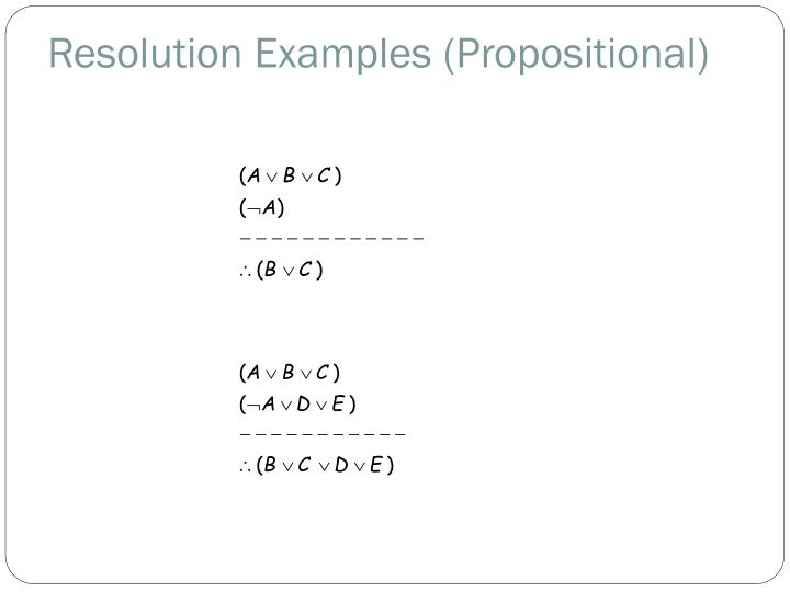 Resolution Examples (Propositional)