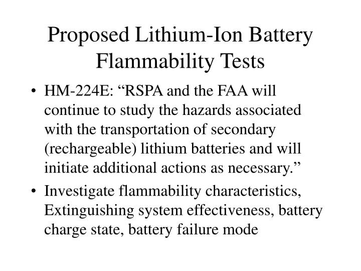 Proposed Lithium-Ion Battery Flammability Tests
