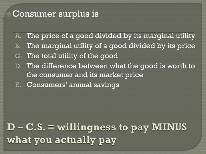 D – C.S. = willingness to pay MINUS what you actually pay