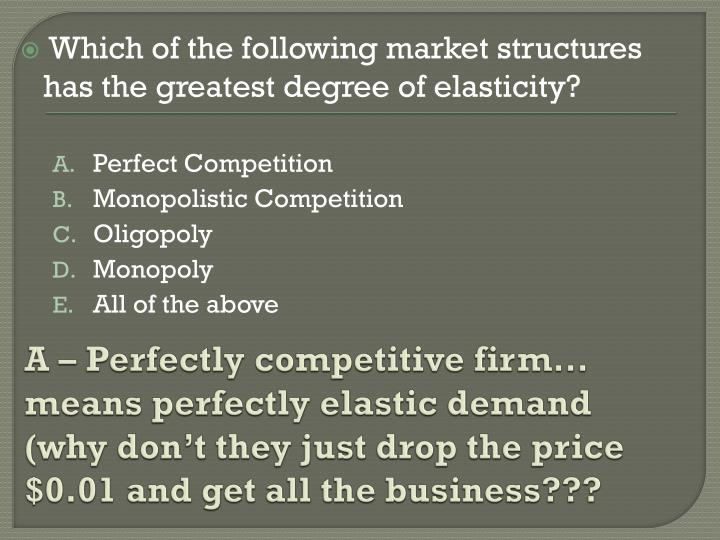 A – Perfectly competitive firm… means perfectly elastic demand (why don't they just drop the price $0.01 and get all the business???