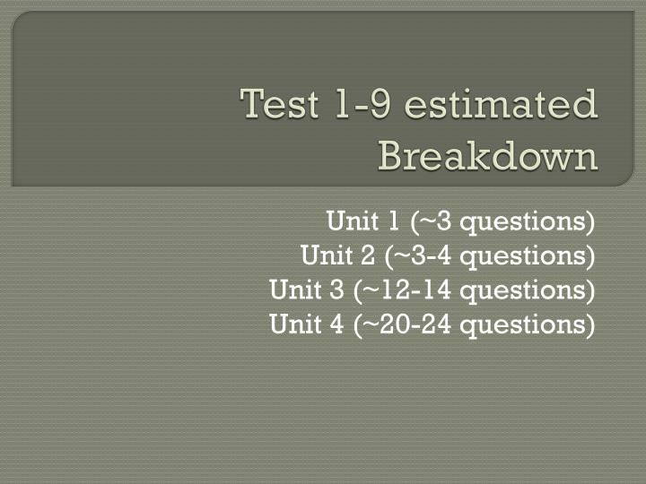 Test 1-9 estimated Breakdown