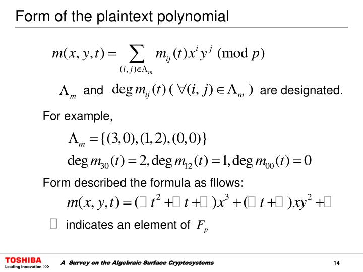 Form of the plaintext polynomial