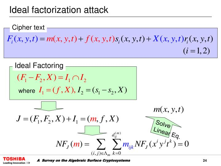 Ideal factorization attack