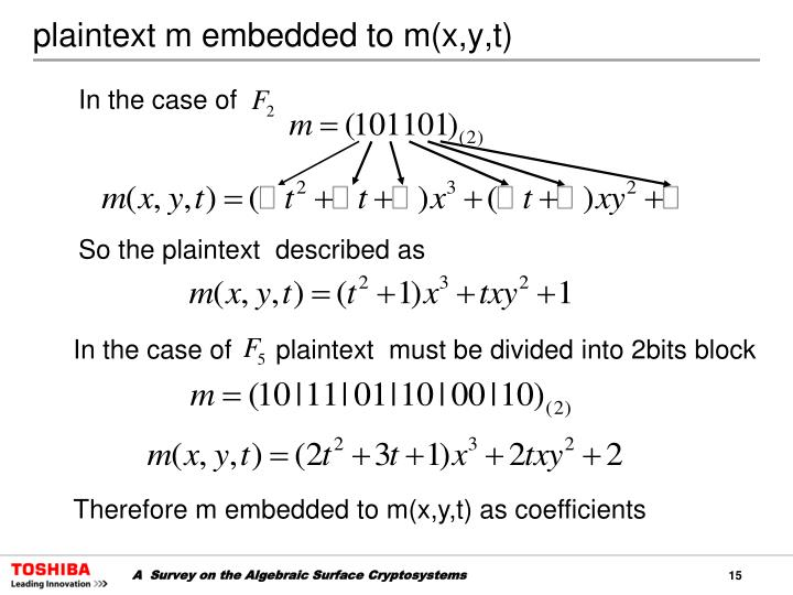 plaintext m embedded to m(x,y,t)