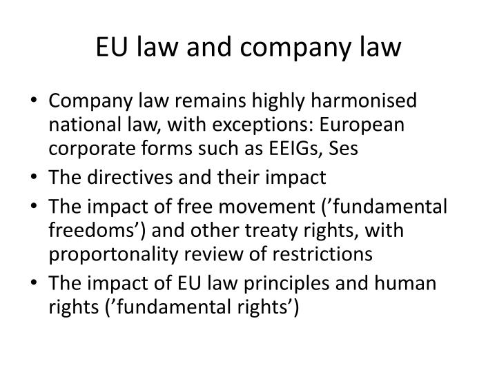 Eu law and company law