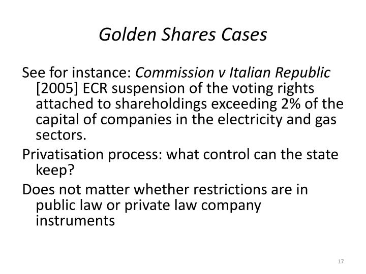 Golden Shares Cases