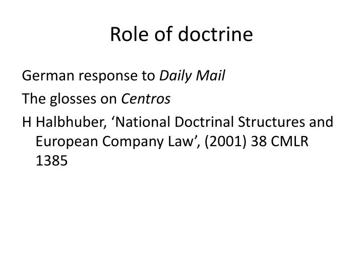 Role of doctrine