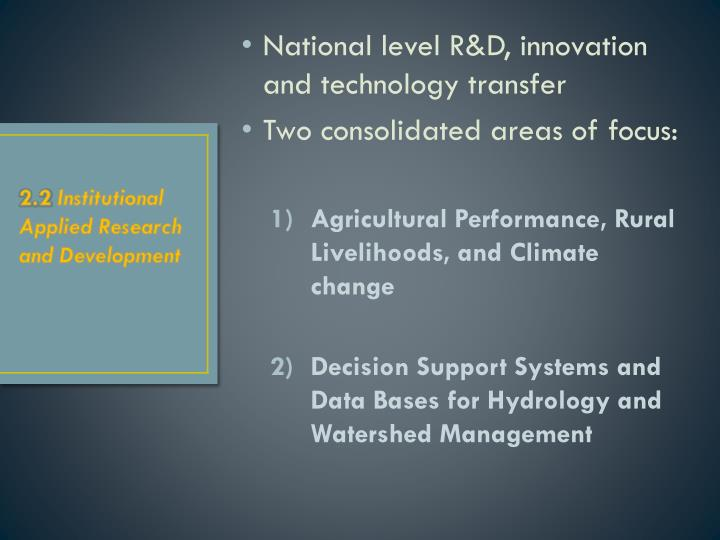 National level R&D, innovation and technology transfer