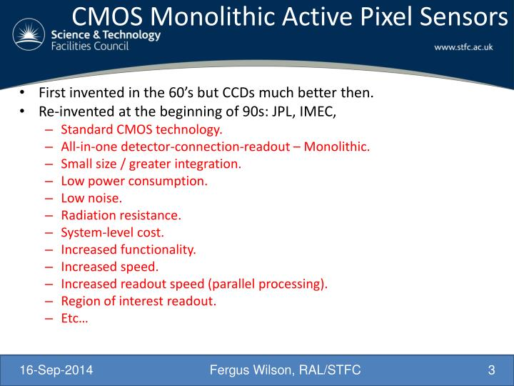CMOS Monolithic Active Pixel Sensors