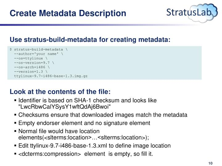 Create Metadata Description