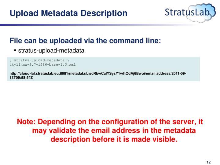 Upload Metadata Description
