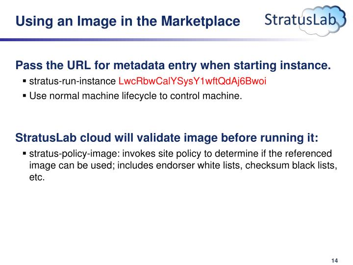 Using an Image in the Marketplace