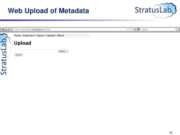 Web Upload of Metadata
