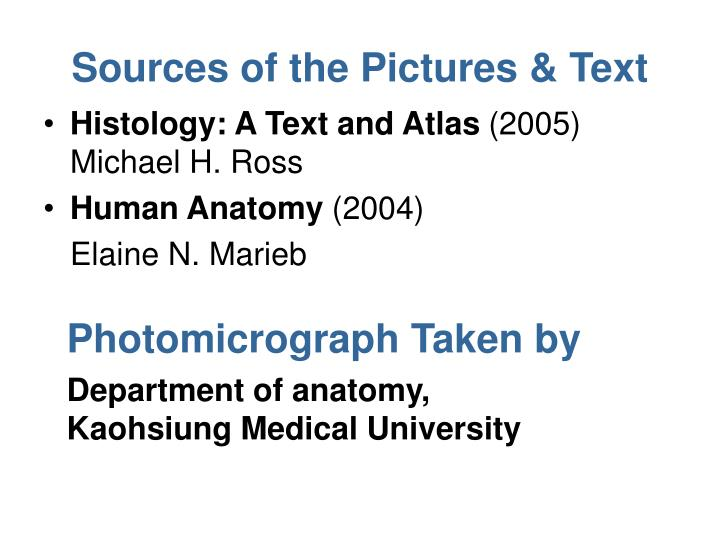 Sources of the pictures text