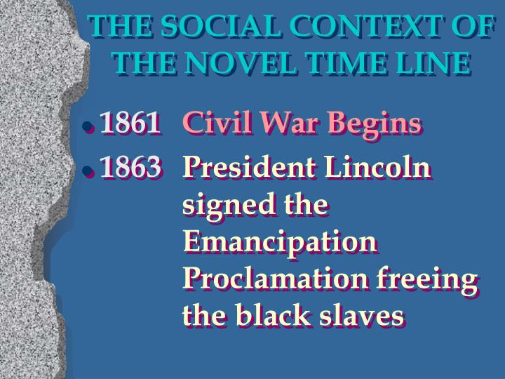 THE SOCIAL CONTEXT OF THE NOVEL TIME LINE