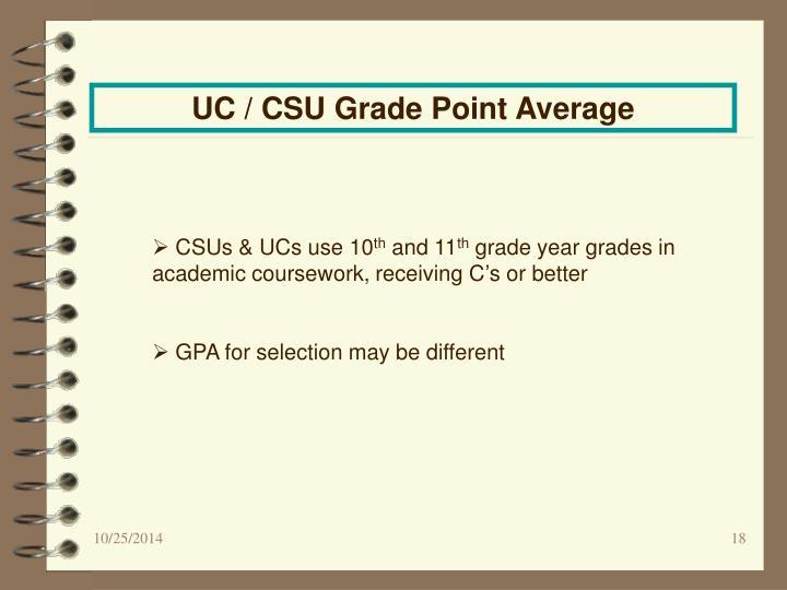 UC / CSU Grade Point Average