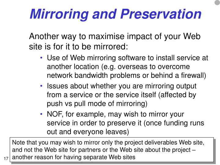 Mirroring and Preservation