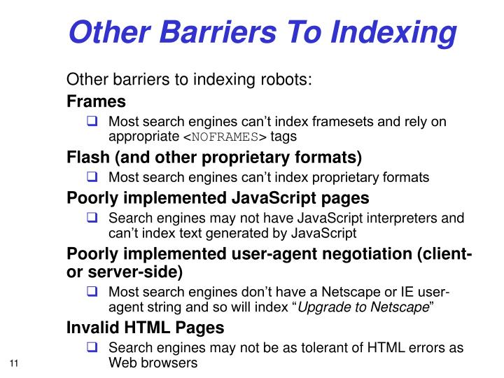 Other Barriers To Indexing