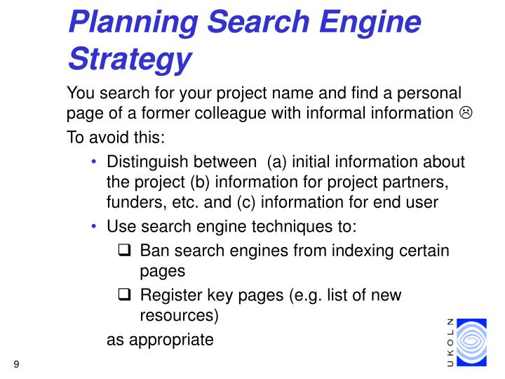 Planning Search Engine Strategy