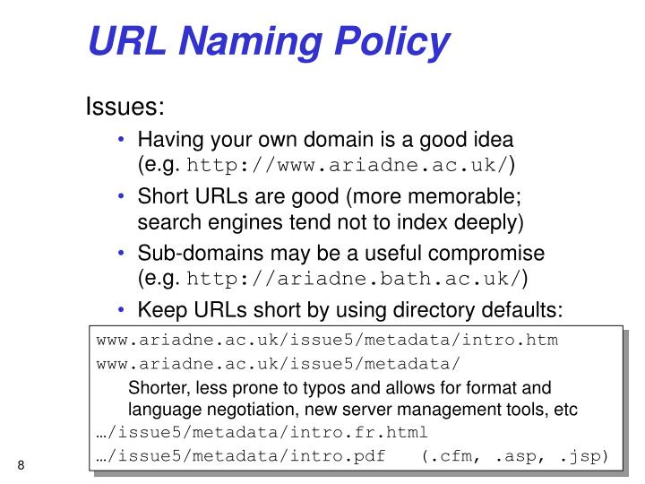 URL Naming Policy