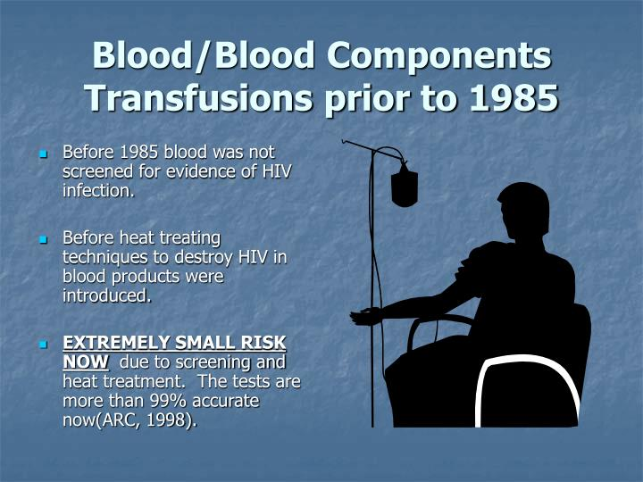 Blood/Blood Components Transfusions prior to 1985