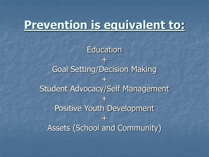 Prevention is equivalent to: